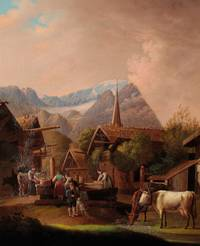 Original Period Early 19th Century Oil on Board Painting An Alpine scene with figures and animals gathered around the town pump, mountains beyond by CONTINENTAL SCHOOL - from The Antique Map & Bookshop (SKU: 81441)