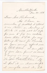 AUTOGRAPH LETTER SIGNED by the radical minister WILLIAM J. POTTER regarding a lecture he will give.