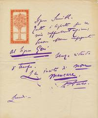 Autograph Letter Signed on the  emblematic stationery of her dramatic company,  in Italian, 1 page on folio bifold, n.p.,  Monday, n.d.