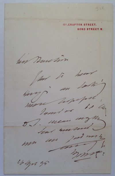 London, 1895. unbound. very good. 1 page, 7 x 4.5 inches, London, 1895. Brief note written during Ir...