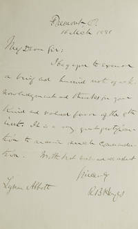 "Autograph Letter Signed (""R.B. Hayes"") to the Reverend Lymon Abbott"