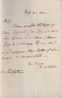 1832 Signed letter by Daniel Webster Addressed to Mr. Frothingham