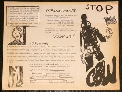 Washington DC: CBW Campaign, 1970. Six-panel brochure, unfolded to 8.5x11 inches, unevenly toned. Da...