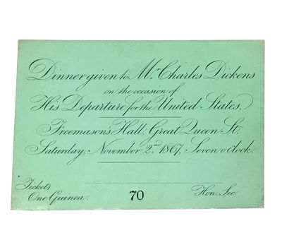 Engraved ticket to Charles Dickens's...