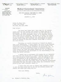 image of FOUR TYPED LETTERS SIGNED BY HUNGARIAN-BORN AMERICAN PSYCHIATRIST AND CRIMINOLOGIST RALPH S. BANAY CONCERNING HIS PROPOSAL FOR A NEW ORGANIZATION TO FURTHER THE PARTICIPATION OF MEDICAL PERSONNEL IN THE NATIONAL DEBATE ON CRIME.