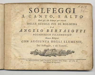 Bologna: Lelio dalla Volpe, 1764. Oblong quarto. Stiff contemporary dark ivory carta rustica with de...