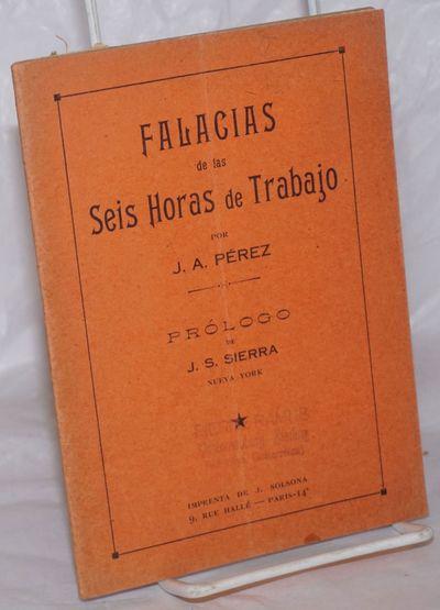 Paris: Imprenta de J. Solsona, 1929. Pamphlet. 60, p., stapled wraps, 5.25x7 inches, front wrap vert...