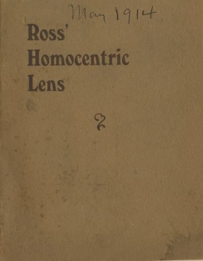 London: Ross Optical Works, 1914. 32mo., 21 pp., b&w photographs, diagrams. Printed stiff wrappers, ...