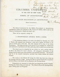 image of AUTOGRAPH NOTE SIGNED BY AMERICAN ARCHITECT WILLIAM EDWARD PARSONS ON A COPY OF A BROCHURE ANNOUNCING COLUMBIA UNIVERSITY'S SIXTH COMPETITION FOR THE MCKIM FELLOWSHIPS IN ARCHITECTURE.
