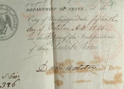 1841. . AN AMERICAN PASSPORT SIGNED BY DANIEL WEBSTER AND EDWARD EVERETT, CA. 1841. Red leather fold...