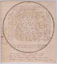 19th century manuscript circular poem rendered in ink with decorative border, two sided