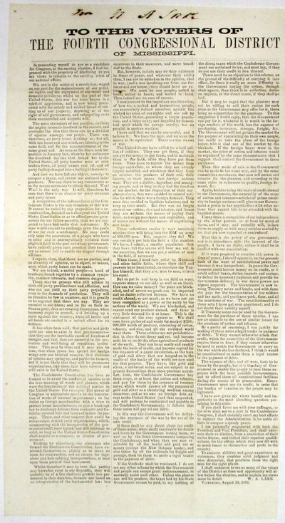 This unrecorded Confederate broadside asserts that
