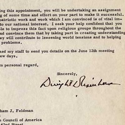 29/05/1956. Dwight D. Eisenhower Abraham J. Feldman was born in Kiev, Ukraine and came to the U.S. i...