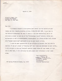 image of TYPED LETTER TO PSYCHIATRIST AND CRIMINOLOGIST ARTHUR N. FOXE SIGNED BY VIRGINIA PENITENTIARY PSYCHOLOGIST WILLIAM C. PERDUE.