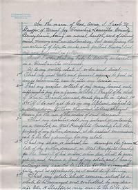 HANDWRITTEN WILL OF JACOB M. STAUFFER OF MOUNT JOY TOWNSHIP, LANCASTER COUNTY, 13 DECEMBER 1897