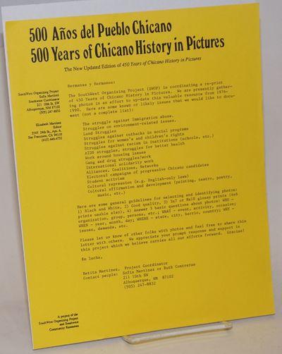 Albuquerque: SouthWest Organizing Project, 1990. Single 8.5x11 inch handbill, publicity announcement...