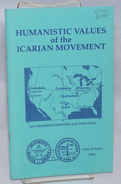 Sunnyvale, CA: National Icarian Heritage Society, 1992. Pamphlet. v, 48p., staplebound pamphlet, sec...