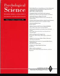 Psychological Science (Vol 15, No. 1, January 2004)