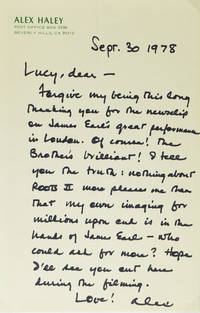 Autograph Letter, signed (Alex), regarding James Earl Jones and Roots II