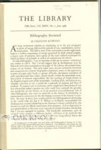 """BIBLIOGRAPHY REVISITED.""""