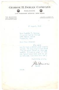 TLS from John Farrar, Editor of George H. Doran Company to prominent librarian Miss Marilla W. Freeman of the Cleveland Public Library
