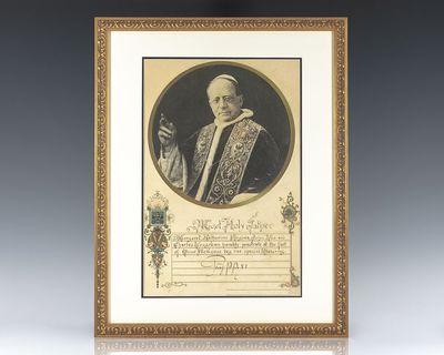 c. 1930. Rare hand-illuminated apostolic benediction signed by Pope Pius XI with a circular portrait...