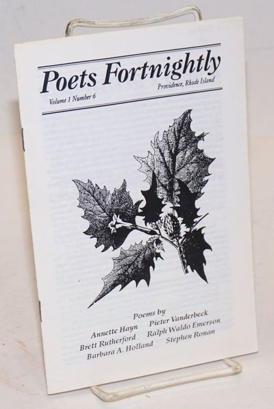 Providence RI: The Poets Press, 1991. Pamphlet. Unpaginated, about twelve pages, staplebound pamphle...