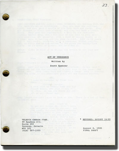 Toronto: Telepix Canada, 1985. Final Draft for the 1986 television film. Based on the book of the sa...