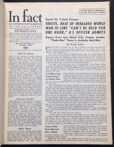 New York: In Fact, Inc, 1948. All issues of the newsletter from vol. 18, spanning the period from Oc...