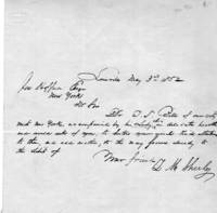 1852 Holographic letter to a Mr. Hoffman, Esq. of New York, from L. M. Sheeley of Louisville.