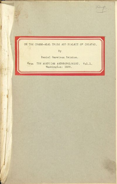 Washington: American Anthropological Association, January, 1888. Octavo offprint from the first volu...