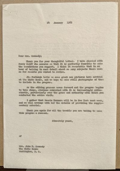 Washington, 1962. fine. Outstanding and historically important T.L.S. as First Lady, 4to. 2 pages, W...