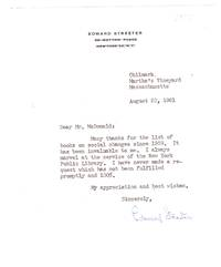 TLS from author Edward Streeter to Mr. McDonald of the NYPL