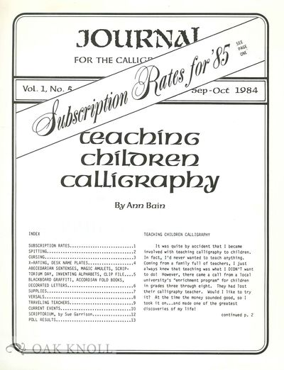 (Indianapolis, IN: Center for the Calligraphic Arts, 1984. self paper wrappers. 4to. self paper wrap...