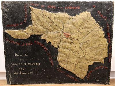 An unqiue manuscript relief map of...