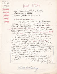 """AUTOGRAPH LETTER TO THE EDITOR OF """"AMERICAN ARTIST"""" SIGNED BY THE WOOD ENGRAVER & ILLUSTRATOR FRITZ EICHENBERG."""