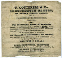 image of Advertisement for T. Cotterell & Co., Chronometer Makers, announcing an award granted by the Board of Admiralty to Cotterell for its performance at the Public Trials, Royal Observatory, Greenwich