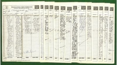 A complete set of original hand written score sheet. The game with Kogan is in Kongan's hand. The Re...