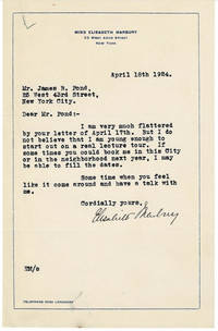 TYPED LETTER SIGNED by the pioneering literary and theatrical agent and producer ELISABETH MARBURY.