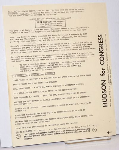 New York: The People's Independent Coalition (PIC), 1980. Leaflet, printed on one side only, all tex...