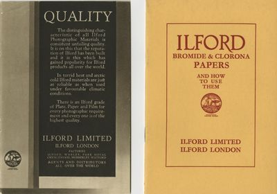 London: Ilford Limited, 1934. 12mo., 16 pp. Printed stiff wrappers. ILFORD PLATES AND FILMS 12mo., p...