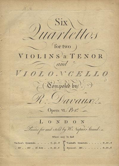 London: W. Napier , 1780. Folio. Disbound. Violino primo: 1f. (title), (blank), 2-13, (blank) pp.; V...