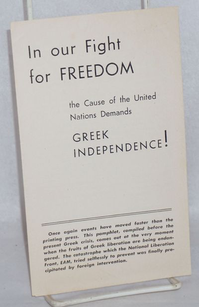 New York: Greek American Committee for National Unit, 1944. Six-panel brochure, 4.5x7.5 inches, very...