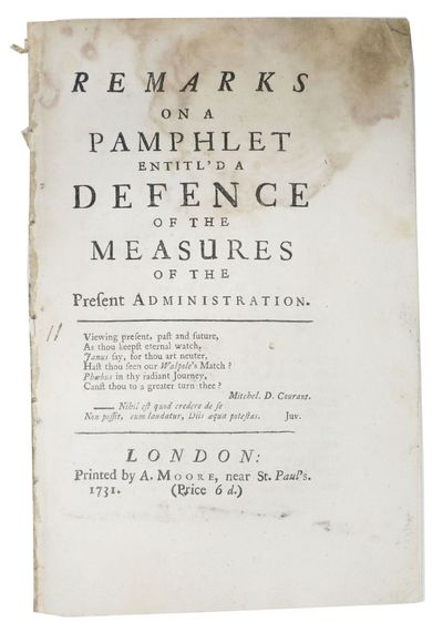 London: Printed by A. Moore, near St. Paul's, 1731. Second Edition (ESTC N12586). Disbound, now hous...
