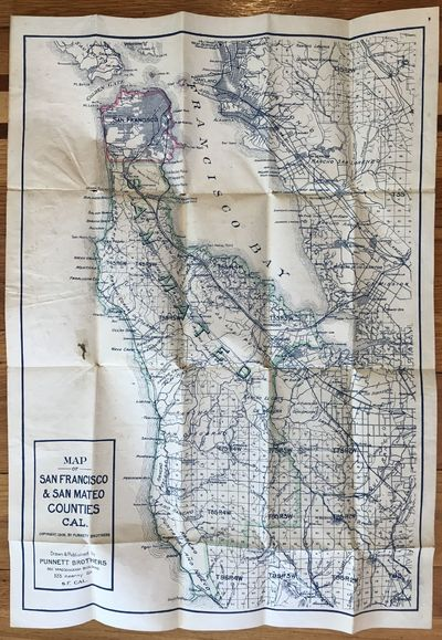 San Francisco: Punnett Brothers, 1908. About very good.. Folding map, 28.5 x 20.25 inches. Three sho...