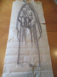 Original Drawing: Study For A Large Modernist Architectural Mural: Virgin Mary And Child