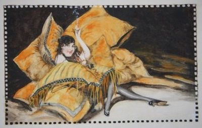 1915-1919. Containing a total of 80 original watercolors, 43 of which are pure fashion plates straig...