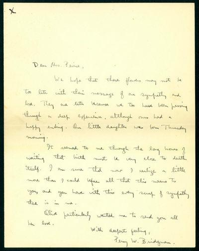 1926. Bridgman, Percy Williams (1881-1961). (1) Autograph letter signed to Mrs. Benjamin Osgood Peir...