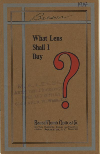 Rochester: Bausch & Lomb Optical Co, 1914. 12mo., 35 pp., illustrated from b&w photographs. Decorati...