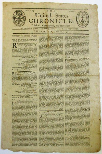 Providence, 1791. Folio, folded to pp, 11
